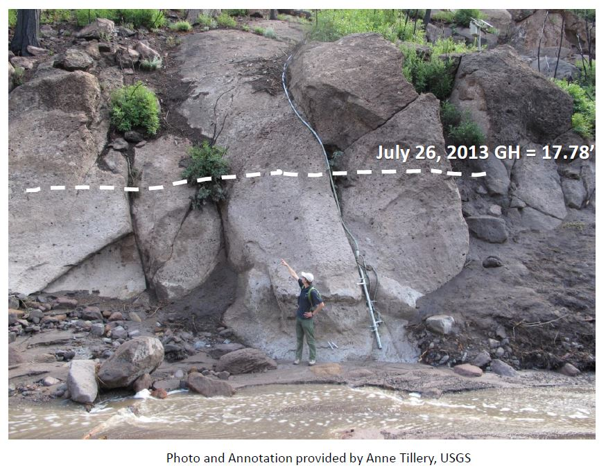 Flood height photo Bandelier National Monument