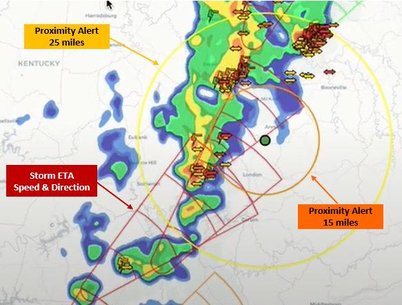 Thunderstorm and lightning detection ETA